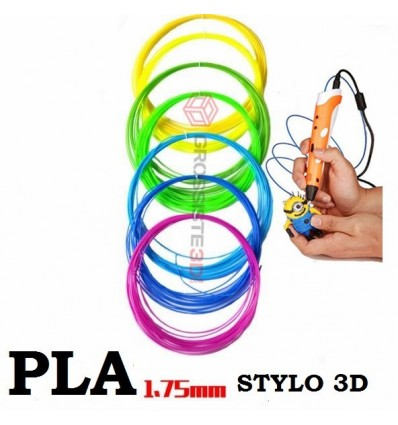 PACK 7 X 5 M RECHARGE STYLO 3D PLA 1.75 MM