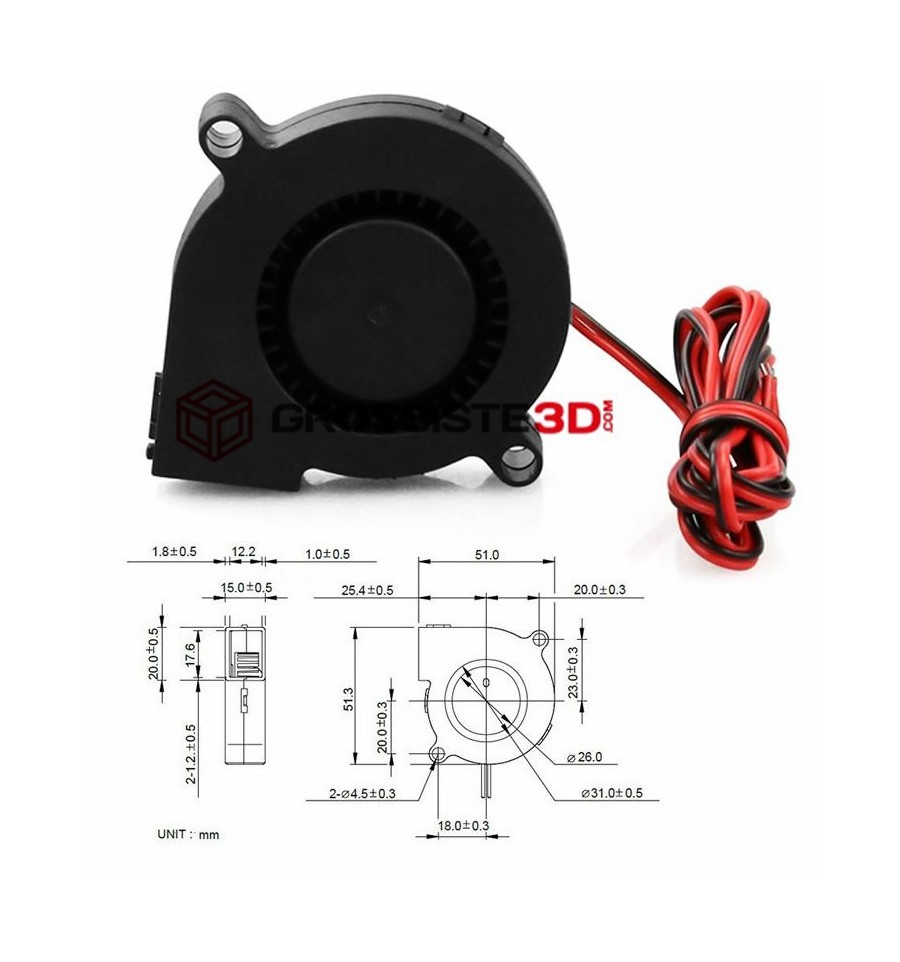 Ventilateur turbo 50mm 12V ultra silencieux Universel