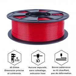 Fil 3D PLA 500g 1.75 mm Rouge