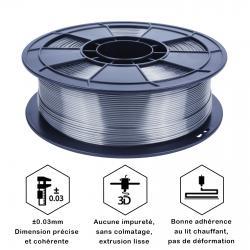 Filament 3D Silk Glossy 1 Kg Argent Gris 1.75 mm